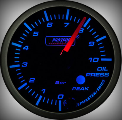 Prosport Racing Premium Serie Öldruck 52 mm, blau-weiß, Smoked