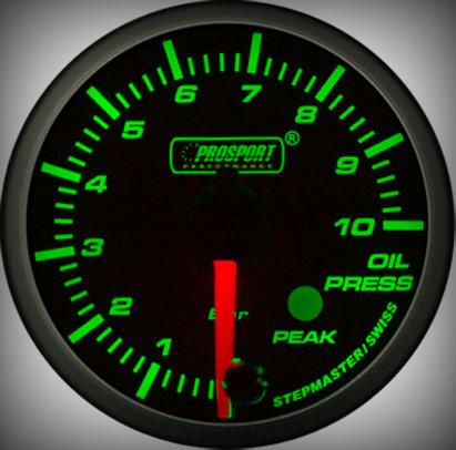 Prosport Racing Premium Serie Öldruck 52 mm, grün-weiß, Smoked