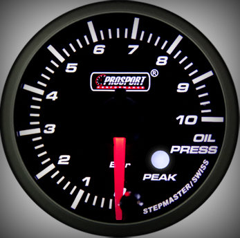 Prosport Racing Premium Serie Öldruck 60 mm, blau-weiß, Smoked