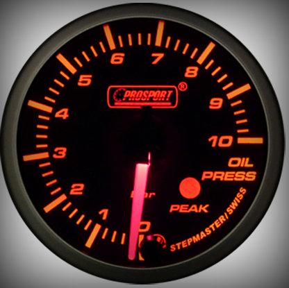 Prosport Racing Premium Serie Öldruck 60 mm, orange-weiß, Smoked