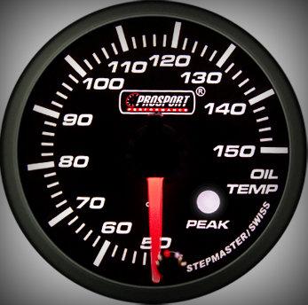 Prosport Racing Premium Serie Öltemperatur 52 mm, blau-weiß, Smoked