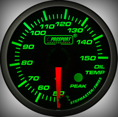Prosport Racing Premium Serie Öltemperatur 52 mm, grün-weiß, Smoked