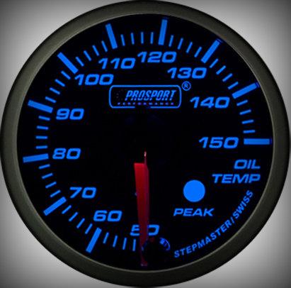 Prosport Racing Premium Serie Öltemperatur 60 mm, blau-weiß, Smoked