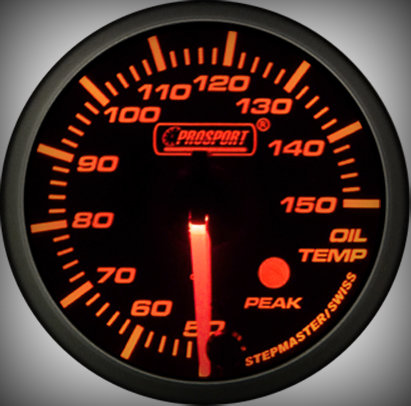 Prosport Racing Premium Serie Öltemperatur 60 mm, orange-weiß, Smoked