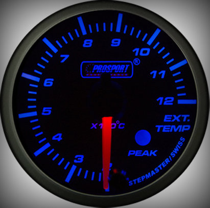 Prosport Racing Premium Serie Abgastemperatur 52 mm, blau-weiß, Smoked