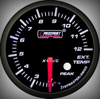 Prosport Racing Premium Serie Abgastemperatur 60 mm, blau-weiß, Smoked
