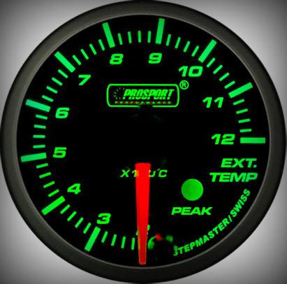 Prosport Racing Premium Serie Abgastemperatur 60 mm, grün-weiß, Smoked