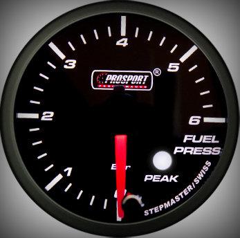 Prosport Racing Premium Serie Benzindruck 52 mm, blau-weiß, Smoked