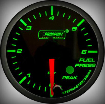 Prosport Racing Premium Serie Benzindruck 52 mm, grün-weiß, Smoked