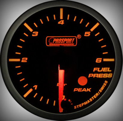 Prosport Racing Premium Serie Benzindruck 60 mm, orange-weiß, Smoked
