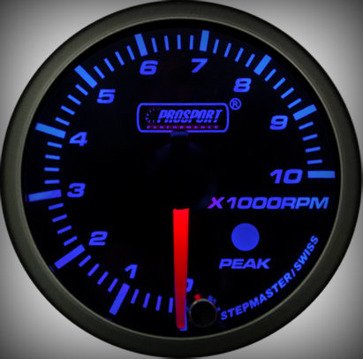 Prosport Racing Premium Serie Drehzahlmesser 52 mm, blau-weiß, Benziner