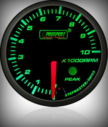 Prosport Racing Premium Serie Drehzahlmesser 52 mm, grün-weiß, Benziner