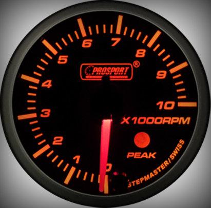 Prosport Racing Premium Serie Drehzahlmesser 60 mm, orange-weiß, Benziner
