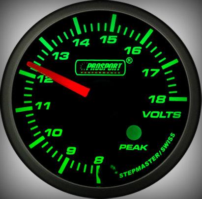 Prosport Racing Premium Serie Voltmeter 52 mm, grün-weiß, Smoked