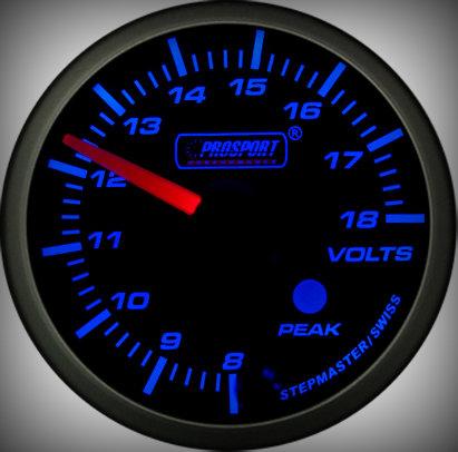 Prosport Racing Premium Serie Voltmeter 60 mm, blau-weiß, Smoked