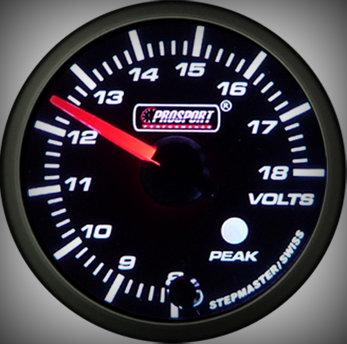 Prosport Racing Premium Serie Voltmeter 60 mm, orange-weiß, Smoked