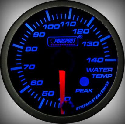 Prosport Racing Premium Serie Wassertemperatur 52 mm, blau-weiß, Smoked